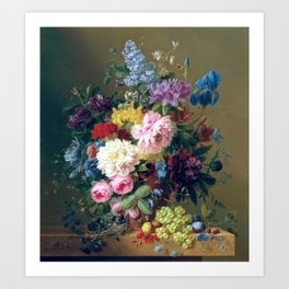 Arnoldus Bloemers - Flowers with Fruit and a Bird's Nest on a Marble Ledge Art Print