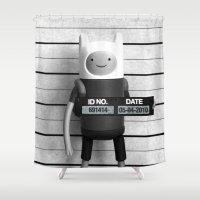 finn Shower Curtains featuring Finn Lineup by Christophe Chiozzi