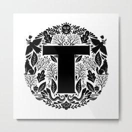 Letter T monogram wildwood Metal Print
