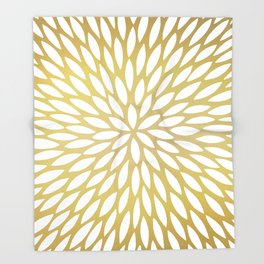 White Leaves on Gold Throw Blanket