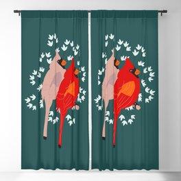 cardinal bird couples Blackout Curtain