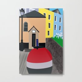 Tenby Fishing harbour cottages  wales  Metal Print