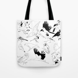 Birds Art Black and White Tote Bag
