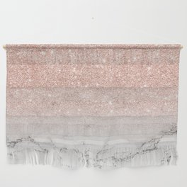 Modern faux rose gold pink glitter ombre white marble Wall Hanging