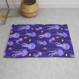 Sea jellyfish on dark purple background. Rug
