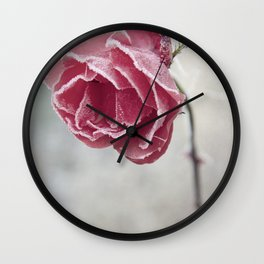 Frosted Red Rose Wall Clock