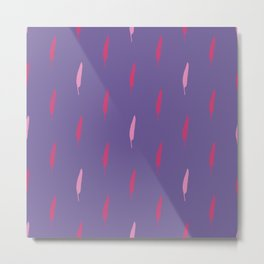 Ultra violet bird feather seamless pattern. Metal Print