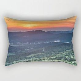 Beautiful sunset behind green fields Rectangular Pillow