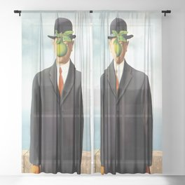 Rene Magritte The Son of Man, 1964 Artwork, Tshirts, Posters, Prints, Bags, Men, Women, Youth Sheer Curtain