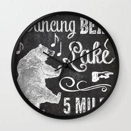 Dancing Bear Lake Sign Wall Clock