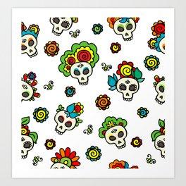 Skulls-catrinas pattern Art Print