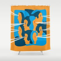 faces Shower Curtains featuring Faces by Jonathan Severin