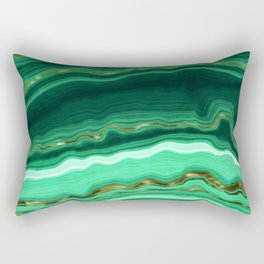 Gold And Malachite Marble Rectangular Pillow