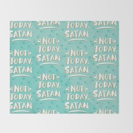 Not Today, Satan – Mint & Gold Palette Throw Blanket