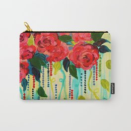 ROSE RAGE Stunning Summer Floral Abstract Flower Bouquet Feminine Pink Turquoise Lime Nature Art Carry-All Pouch