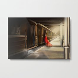Girl in red at the train station Metal Print