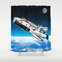 titan Shower Curtains featuring S.S. Titan by AndrewDMorgan