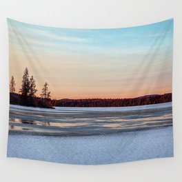 winter sunset Wall Tapestry