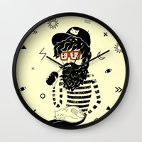 dreamer Wall Clocks featuring Dreamer by Anya Volk