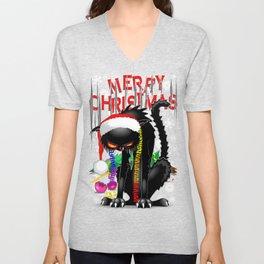 Evil Black Cat VS Christmas Tree Unisex V-Neck