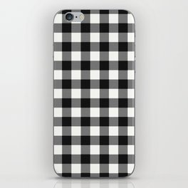 Black and White Country Buffalo check with digital canvas texture iPhone Skin