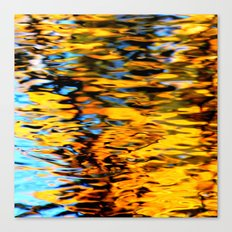 Liquidum Ignis. Fall Tree Reflections in a Pool of Water Canvas Print