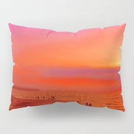 Sunset in orange and pink by the beach Pillow Sham