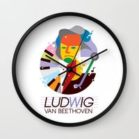beethoven Wall Clocks featuring Beethoven by Szoki