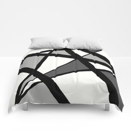 Geometric Line Abstract - Black Gray White Comforters