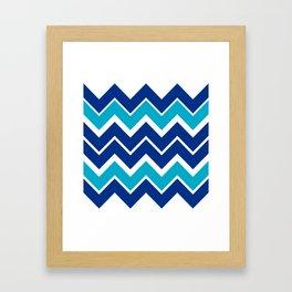 Big Chevron:  Blue + Turquoise Framed Art Print