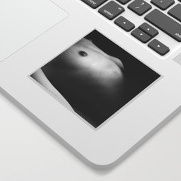 Digital photo photography nude breasts nipples figure woman black and white Sticker