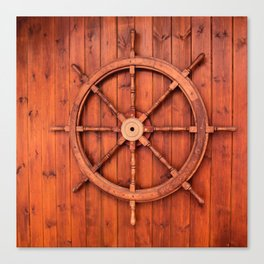 Nautical Ships Helm Wheel on Wooden Wall Canvas Print