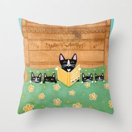 Kitten Bed Time Story Throw Pillow