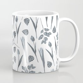 Modern botanical gray mauve teal floral pattern Coffee Mug