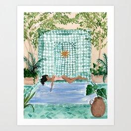 Poolside Siesta Art Print