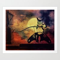 catwoman Art Prints featuring catwoman by Ancello