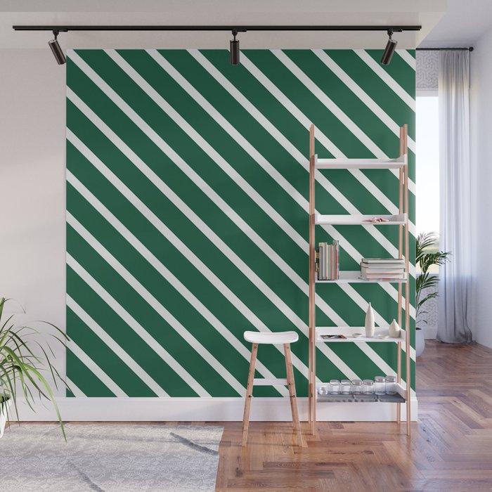 Teal The World (Green) Diagonal Stripes Wall Mural
