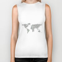 world map Biker Tanks featuring World map by David Zydd