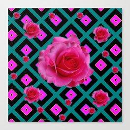 Black-Teal Fuchsia Pink Roses  Patterns Canvas Print