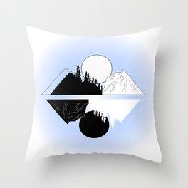 Light Blue Moon Mountain Scene Throw Pillow