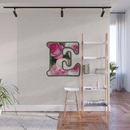 Letter E Rose Monogram Wall Mural