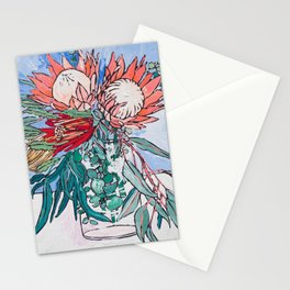 Painterly Vase of Proteas, Wattles, Banksias and Eucayptus on Blue Stationery Cards