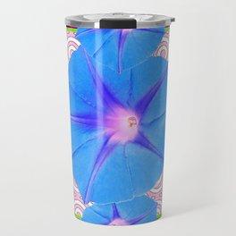 Blue Morning Glories & Shasta Daisies Teal Art Travel Mug