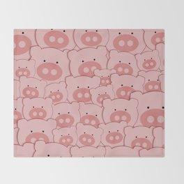 Pink Piggy Pigs Throw Blanket