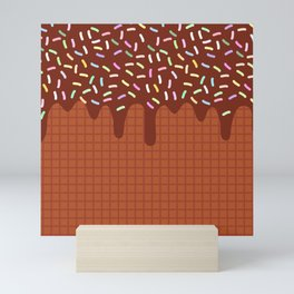 chocolate waffles with flowing chocolate sauce and sprinkles Mini Art Print