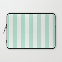 Mint green and White stripes-vertical Laptop Sleeve
