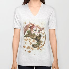 Winged Woman in Tea Unisex V-Neck