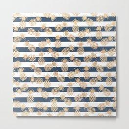 Nautical modern navy blue white stripes blush beige pineapple Metal Print