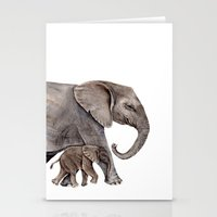 elephants Stationery Cards featuring Elephants by Goosi