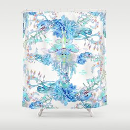 Aqua Chalcedony Luna Moth Succulent Floral Shower Curtain